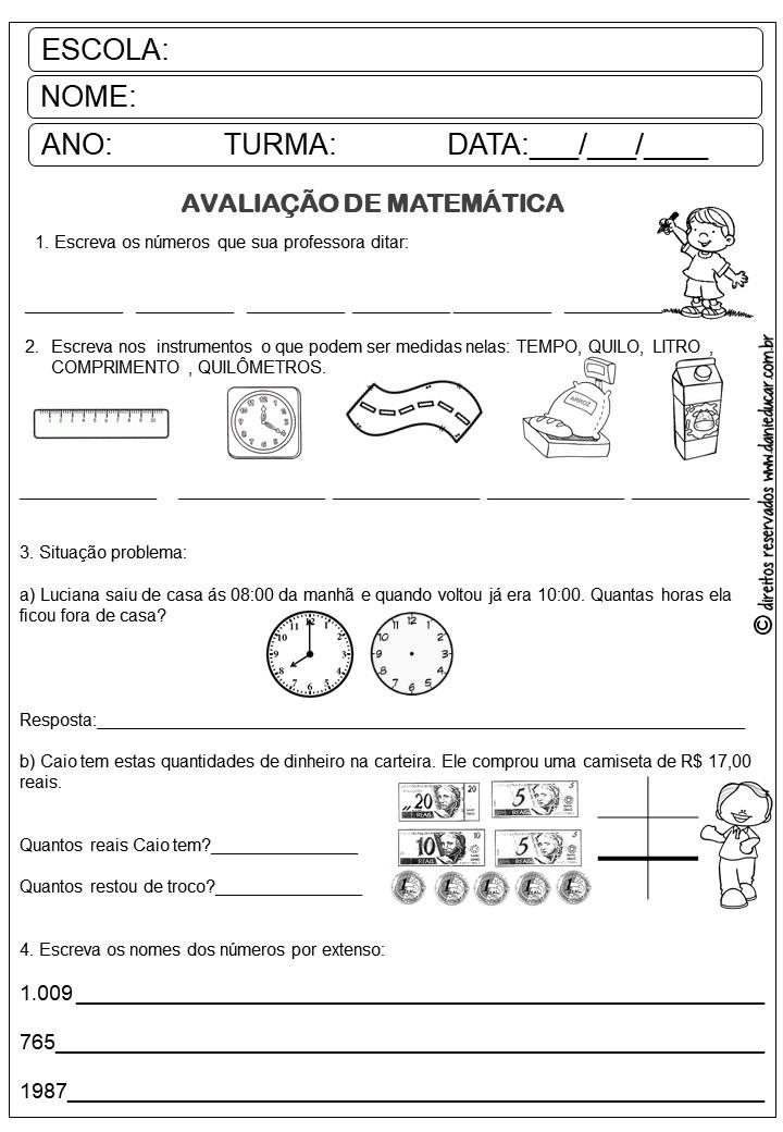 Avaliacao 3º Ano Matematica Dani Educar