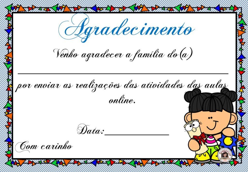 Certificado para famílias - aulas online