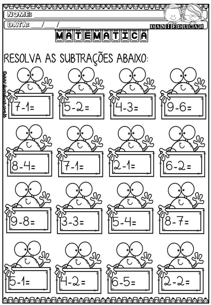 Atividades matemática - subtração 1 ano